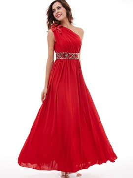 Charming One-Shoulder Pleated Chiffon Beading A-Line Evening Dress