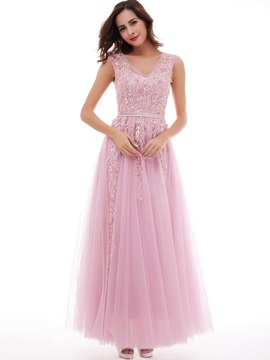 Charming A-Line Lace Tulle Lace-Up V-Neck Evening Dress & casual Under $100