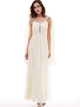 Fancy Beading Scoop Neck A-Line Long Evening Dress & casual Under $100