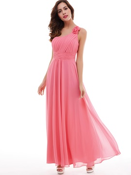 Sweet Flower One-Shoulder Pleated Chiffon A-Line Evening Dress & quality Under $100