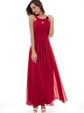 Simple A-Line Chiffon Scoop Sleeveless Ankle-Length Evening Dress & casual Under $100