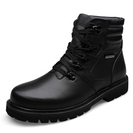 Black Patent Leather Lace-Up Martin Boots