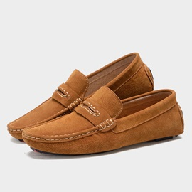 Solid Color Suede Slip-On Loafers
