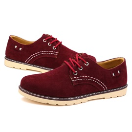 Suede Round Toe Lace-Up Men's Shoes