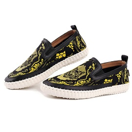 Printed Round Toe Slip-On Loafers