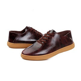 Round Toe PU Lace-Up Men's Shoes