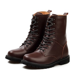 Front Lace-Up Round Toe Men's Martin Boots