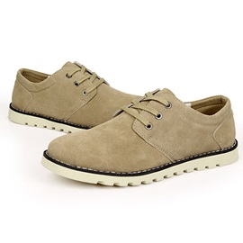 Suede Round Toe Lace-Up Men's Casual Shoes