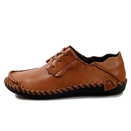 Solid Color PU Thread Men's Casual Shoes