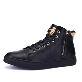Punk Style PU Zippered Men's Sneakers