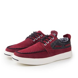 Suede Thread Lace-Up Skater Shoes