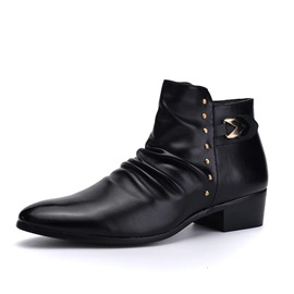 Black Studded Chunky Heel Men's Boots