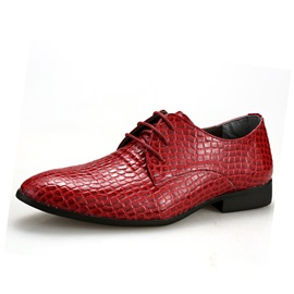 Embossed PU Lace-Up Dress Shoes