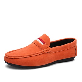 Striped Suede Slip-On Loafers