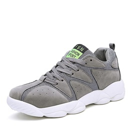 Breathable Mesh Patchwork Lace-Up Sneakers
