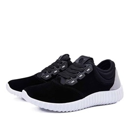 Suede Patchwork Lace-Up Front Running Shoes