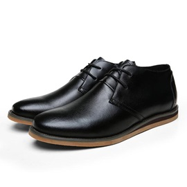 PU Plain Toe Lace-Up Casual Shoes for Men