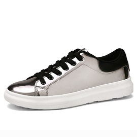 Metallic Round Toe Lace-Up Skater Shoes