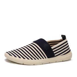 Striped Round Toe Slip-On Loafers