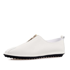Solid Color PU Front-Zip Loafers