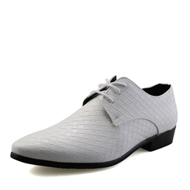 Embossed PU Tie Up Men's Dress Shoes