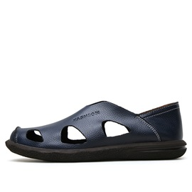 PU Round Toe Cut-Out Casual Shoes for Men