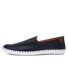 British PU Thread Low-Cut Loafers