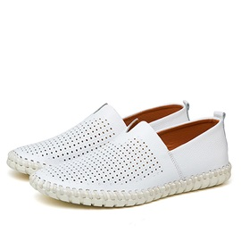 PU Hollow Thread Slip-On Casual Shoes