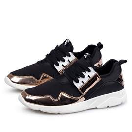 Metallic Thread Lace-Up Sport Shoes