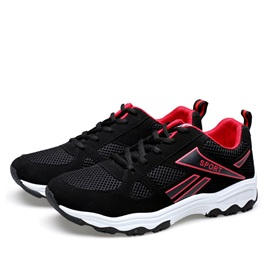 Breathable Mesh Patchwork Lace-Up Running Shoes