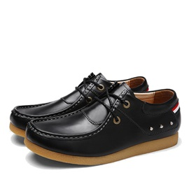 British Studded PU Lace-Up Casual Shoes