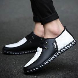 PU Color Block Lace-Up Cheap Men's Casual Shoes