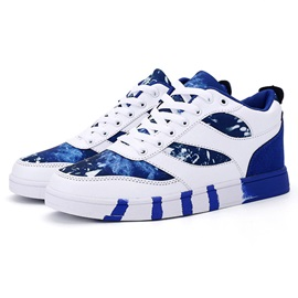 PU Color Block Geometric Men's Sneakers