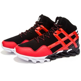 Cool PU Patchwork Lace-Up Men's Sneakers