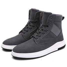 Simple Nubuck Leather Plain Lace-Up Men's Boots