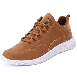 Simple PU Lace-Up Round Toe Men's Sneakers