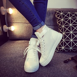 Sweet PU Patchwork Lace-Up Sneakers