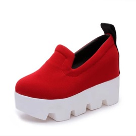 Solid Color Wedge Sole Slip-On Sneakers