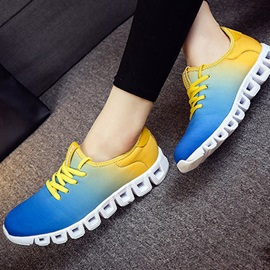 Gradient Color Round Toe Lace-Up Running Shoes