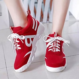 Letters Printed Round Toe Running Shoes
