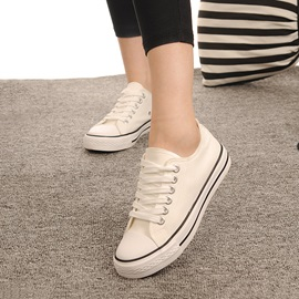 Breathable Lace-Up Flat Canvas Shoes