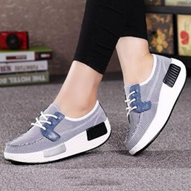 Stripe Printed Lace-Up Casual Shoes