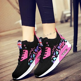 PU Candy Color Lace-Up Women's Sneakers