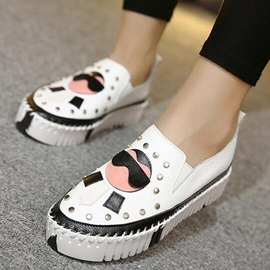 PU Slip-On Rivet Thread Women's Fashion Shoes