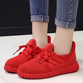Mesh Platform Red and Black Women's Sports Shoes
