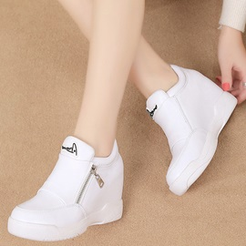 PU Zipper Platform White and Black Women's Sneakers
