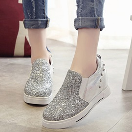 PU Sequins Rivets Hidden Heel Women's Sneakers