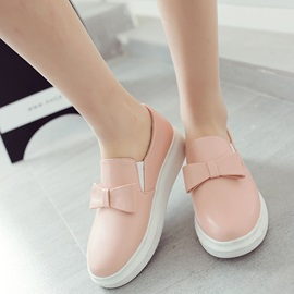 PU Slip-On Bowtie Thread Women's Sneakers