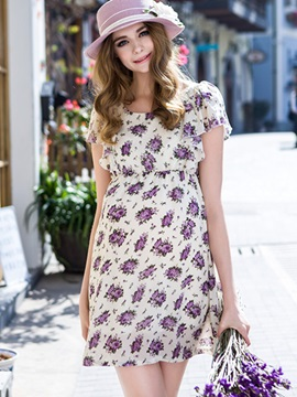 Fashion Floral Chiffon Maternity Dress