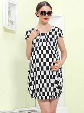 Classic Plaid Printed Maternity Dress